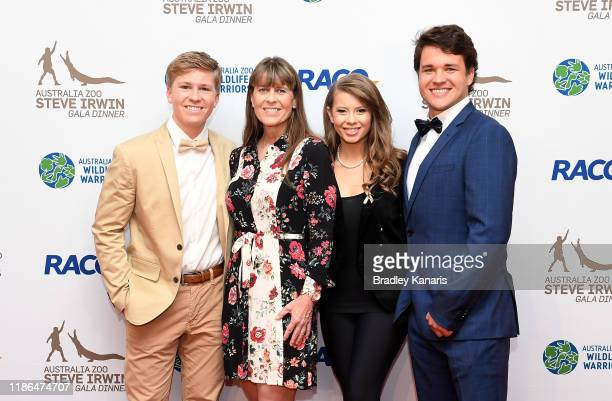 Robert Irwin, Terri Irwin, Bindi Irwin and Chandler Powell pose for a photo at the annual Steve Irwin Gala Dinner at Brisbane Convention & Exhibition...