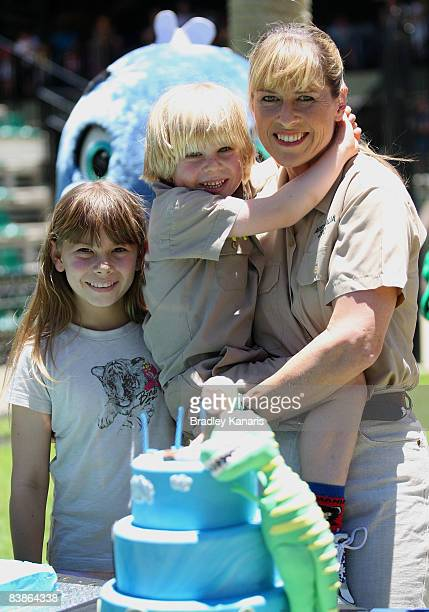 Robert Irwin with his mother Terri and sister Bindi during his fifth birthday celebrations at Australia Zoo on December 1 2008 on the Sunshine Coast...