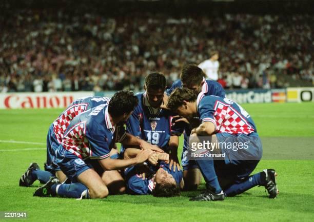 Robert Jarni of Croatia celebrates his goal with his teammates during the FIFA World Cup Finals 1998 Quarter Final match between Croatia and Germany...