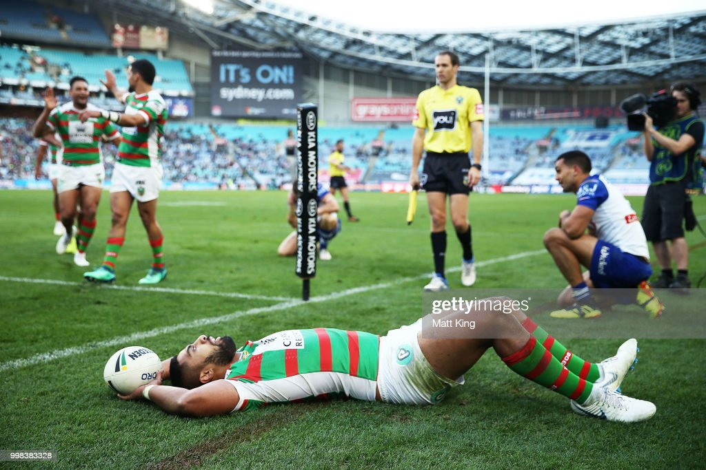 Robert Jennings of the Rabbitohs celebrates scoring a try during the round 18 NRL match between the Canterbury Bulldogs and the South Sydney Rabbitohs at ANZ Stadium on July 14, 2018 in Sydney, Australia.