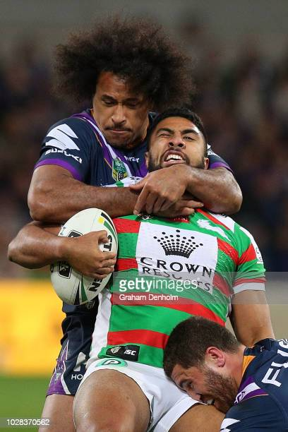 Robert Jennings of the Rabbitohs is tackled during the NRL Qualifying Final match between the Melbourne Storm and the South Sydney Rabbitohs at AAMI...