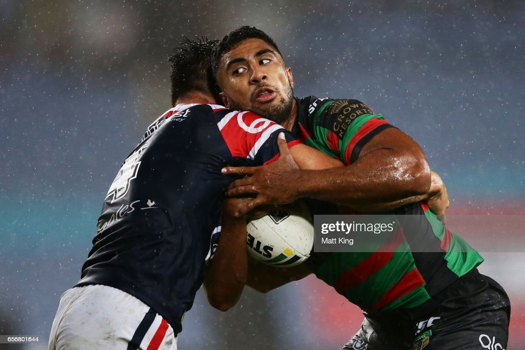 Robert Jennings of the Rabbitohs is tackled during the round four NRL match between the South Sydney Rabbitohs and the Sydney Roosters at ANZ Stadium on March 23, 2017 in Sydney, Australia.