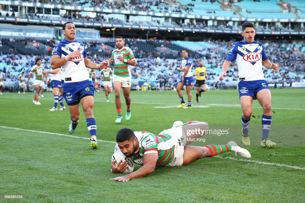 Robert Jennings of the Rabbitohs scores a try during the round 18 NRL match between the Canterbury Bulldogs and the South Sydney Rabbitohs at ANZ Stadium on July 14, 2018 in Sydney, Australia.