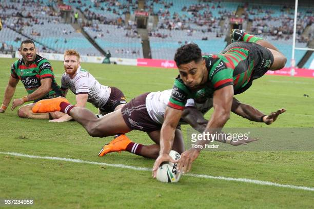 Robert Jennings of the Rabbitohs scores a try during the round three NRL match between the South Sydney Rabbitohs and the Manly Sea Eagles at ANZ...