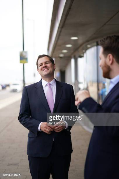 Robert Jenrick MP, Secretary of State for Housing, Communities and Local Government visits Redcar on June 11, 2021 in Redcar, England. The visit...