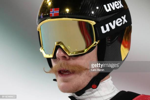 Robert Johansson of Norway reacts after he makes a jump during the Ski Jumping Men's Large Hill on day eight of the PyeongChang 2018 Winter Olympic...