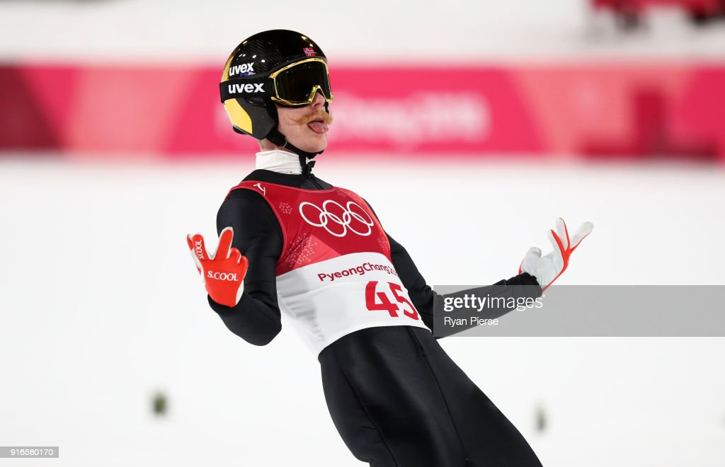 Robert Johansson of Norway reacts after landing a jump during the Ski Jumping - Men's Normal Hill Individual Final on day one of the PyeongChang 2018 Winter Olympic Games at Alpensia Ski Jumping Center on February 10, 2018 in Pyeongchang-gun, South Korea.