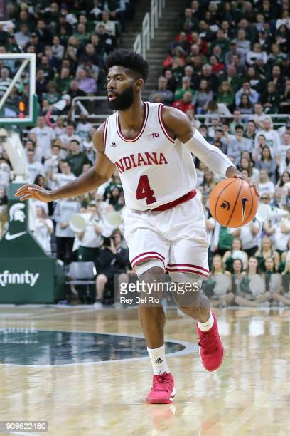 Robert Johnson of the Indiana Hoosiers handles the ball during a game against the Michigan State Spartans at Breslin Center on January 19 2018 in...