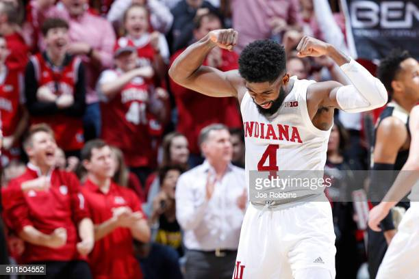 Robert Johnson of the Indiana Hoosiers reacts in the second half of a game against the Purdue Boilermakers at Assembly Hall on January 28 2018 in...