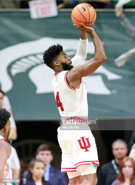 Robert Johnson of the Indiana Hoosiers shoots the ball during a game against the Michigan State Spartans at Breslin Center on January 19 2018 in East...