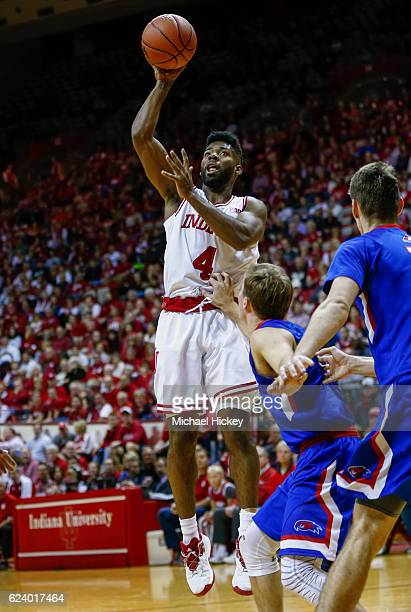 Robert Johnson of the Indiana Hoosiers shoots the ball during the game against the UMass Lowell River Hawks at Assembly Hall on November 16 2016 in...