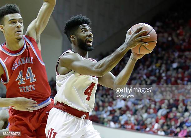 Robert Johnson of the Indiana Hoosiers shoots the ball during the game against the Delaware State Hornets at Assembly Hall on December 19 2016 in...