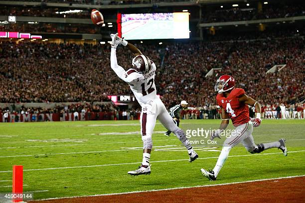 Robert Johnson of the Mississippi State Bulldogs fails to pull in this reception against Eddie Jackson of the Alabama Crimson Tide at BryantDenny...