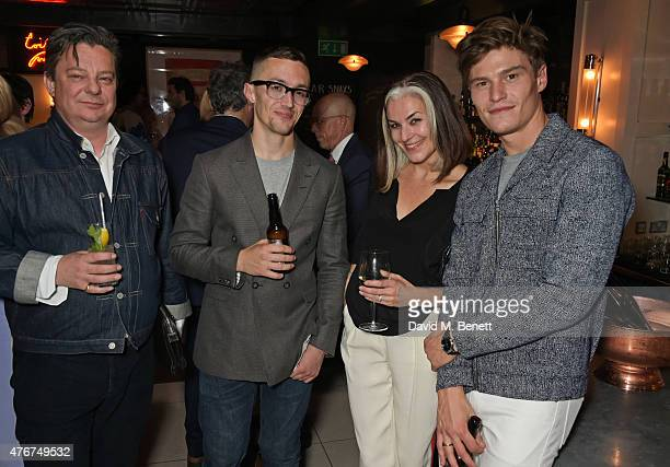 Robert Johnston Jamie Millar Catherine Hayward and Oliver Cheshire attend the official Idris Elba Superdry presentation at LCM at Hix on June 11 2015...