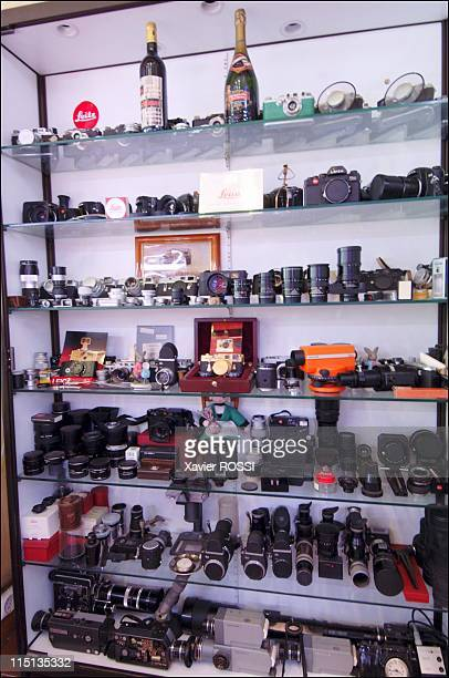Robert Jouhannet a butcher with a collection of 5000 Leica cameras in Vence France in May 2005