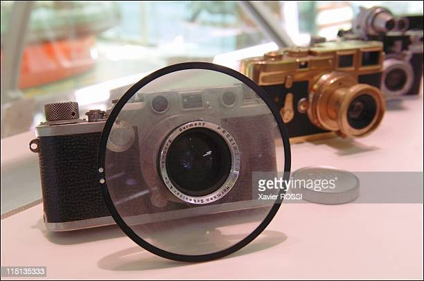 Robert Jouhannet a butcher with a collection of 5000 Leica cameras in Vence France in May 2005 Leica 2 Type 1 Proximeter with its adjustable...