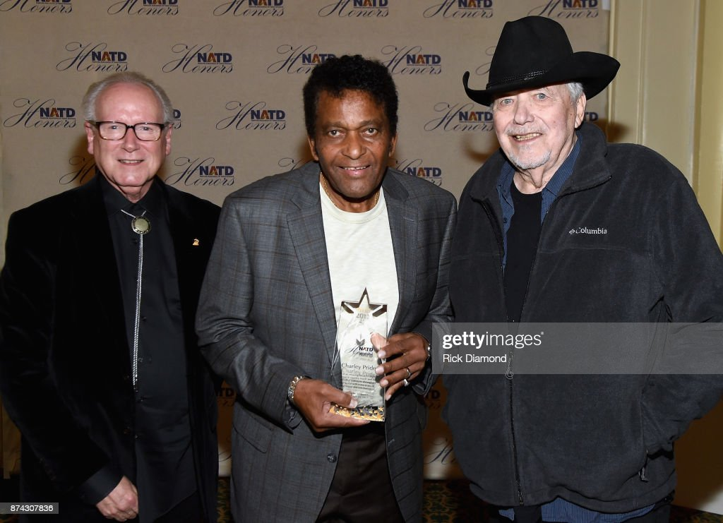 Robert K. Oermann, honoree Charley Pride, and Bobby Bare attend the 2017 NATD Honors Gala at Hermitage Hotel on November 14, 2017 in Nashville, Tennessee.