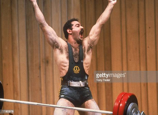 Robert Kabas of Australia is jubilant after competing in his weightlifting event during the Commonwealth Games held in Brisbane Australia Mandatory...