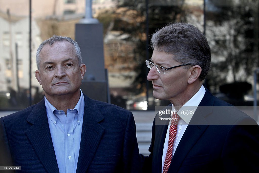 Robert Kaluza, a well site manager for BP Plc during the 2010 explosion on board the Deepwater Horizon oil rig, left, arrives at federal court with his attorney David Gerger in New Orleans, Louisiana, U.S., on Wednesday, Nov. 28, 2012. Kaluza, who supervised testing on the Macondo oil well, and another site manager Donald Vidrine, were charged Nov. 15 with involuntary manslaughter, seaman's manslaughter and Clean Water Act Violations. The U.S. alleges that Kaluza and Vidrine ignored multiple indications that the well wasn't secure before the explosion that killed 11 aboard the drilling rig. Photographer: Derick E. Hingle/Bloomberg via Getty Images
