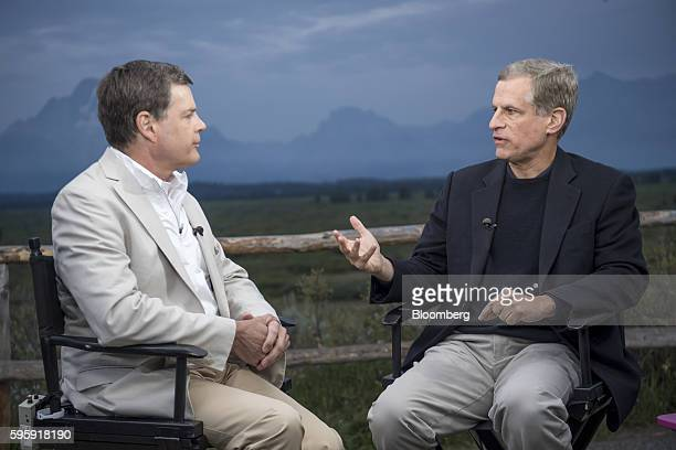 Robert Kaplan president and chief executive officer of the Federal Reserve Bank of Dallas right speaks during a Bloomberg Television interview during...
