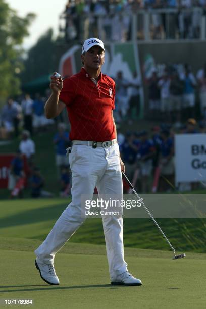 Robert Karlsson of Sweden birdies the 18th at the end of his the final round of the Dubai World Championship on the Earth Course at Jumeirah Golf...