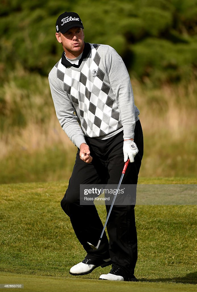 Robert Karlsson of Sweden celebrates after chipping in on the par four 17th hole during his match against Ritchie Ramsay of Scotland in the Quater Final of the Saltire Energy Paul Lawrie Matchplay at Murcar Links Golf Course on August 1, 2015 in Aberdeen, Scotland.