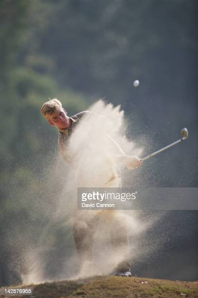 Robert Karlsson of Sweden chips out of a bunker during the Hong Kong Open Golf Tournament on 4th December 1993 at the Hong Kong Golf Club in Fanling,...