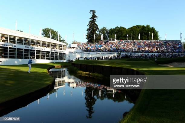 Robert Karlsson of Sweden chips to the 18th green during the final round of the BMW PGA Championship on the West Course at Wentworth on May 23 2010...