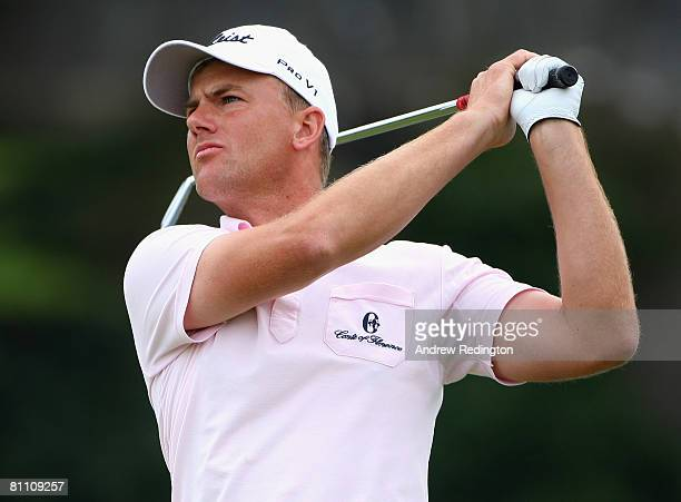 Robert Karlsson of Sweden hits his teeshot on the 16th hole during the second round of the Irish Open on May 16 2008 at the Adare Manor Hotel and...