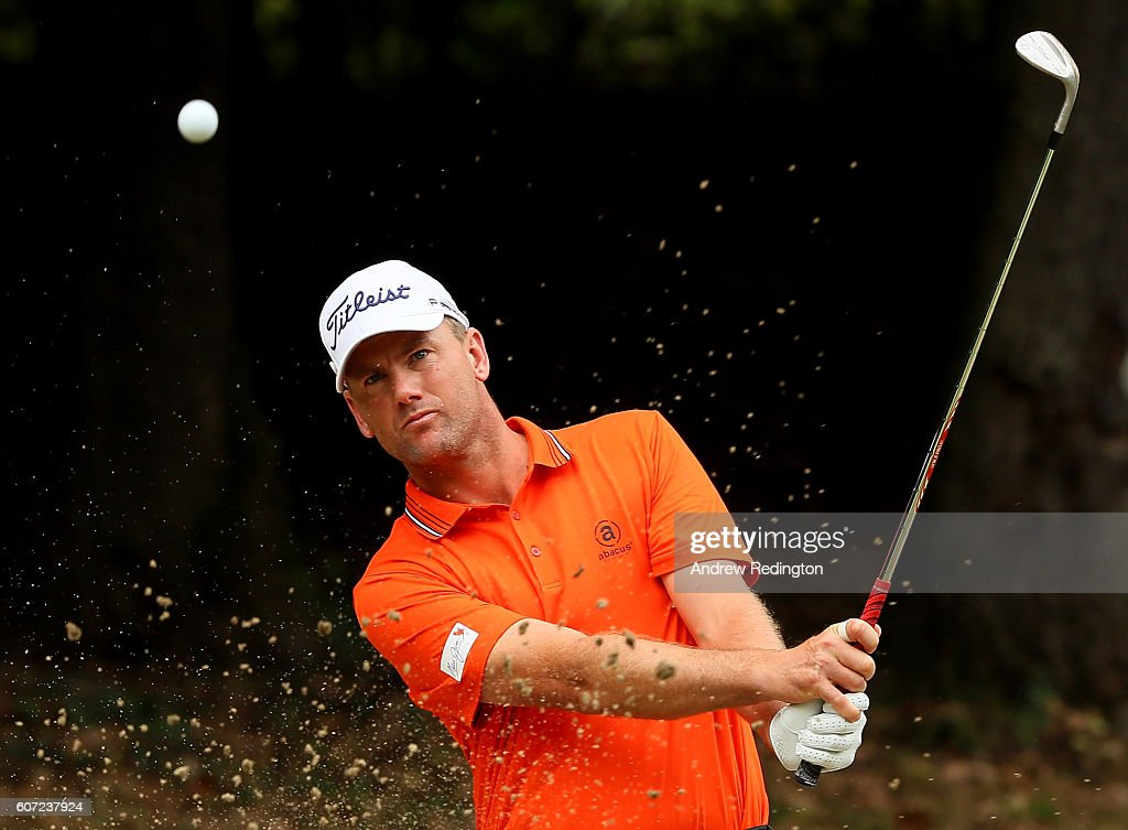 Robert Karlsson of Sweden hits out of the practice bunker during the third round of the Italian Open at Golf Club Milano - Parco Reale di Monza on September 17, 2016 in Monza, Italy.