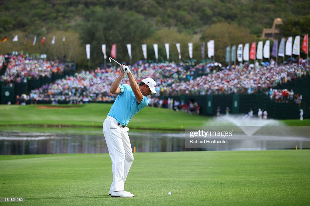 Robert Karlsson of Sweden in action during the final round of the Nedbank Golf Challenge at the Gary Player Country Club on December 4, 2011 in Sun City, South Africa.