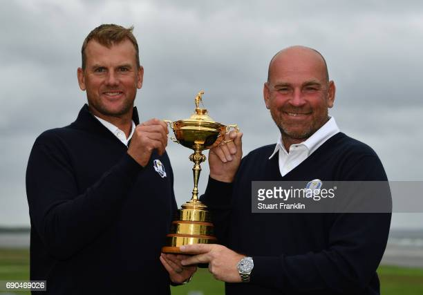 Robert Karlsson of Sweden is announced by Ryder Cup Captain Thomas Bjorn of Denmark as Vice Captain prior to the start of the Nordea Masters at...