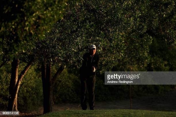 Robert Karlsson of Sweden plays his second shot on the tenth hole during round two of the Abu Dhabi HSBC Golf Championship at Abu Dhabi Golf Club on...