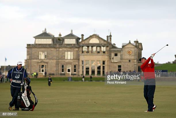 Robert Karlsson of Sweden plays his second shot to the 1st hole during the playoff in The Alfred Dunhill Links Championship at The Old Course on...