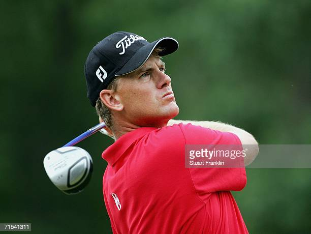 Robert Karlsson of Sweden plays his tee shot on the 11th hole during the final round of The Deutsche Bank Players Championship of Europe at Gut Kaden...