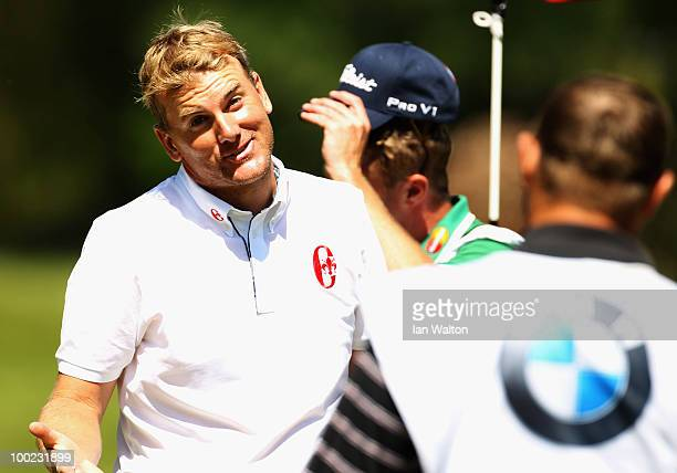Robert Karlsson of Sweden reacts on the 18th green after shooting a round of 62 during the third round of the BMW PGA Championship on the West Course...
