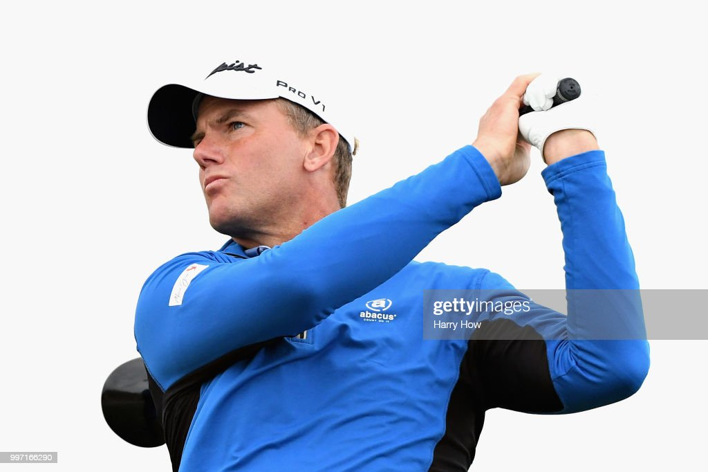 Robert Karlsson of Sweden takes his tee shot on hole thirteen during day one of the Aberdeen Standard Investments Scottish Open at Gullane Golf Course on July 12, 2018 in Gullane, Scotland.