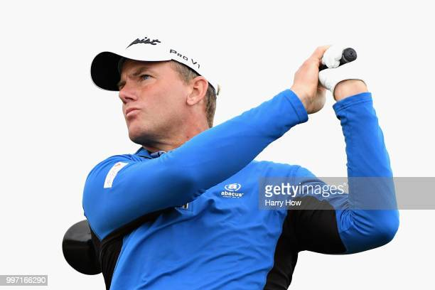 Robert Karlsson of Sweden takes his tee shot on hole thirteen during day one of the Aberdeen Standard Investments Scottish Open at Gullane Golf...