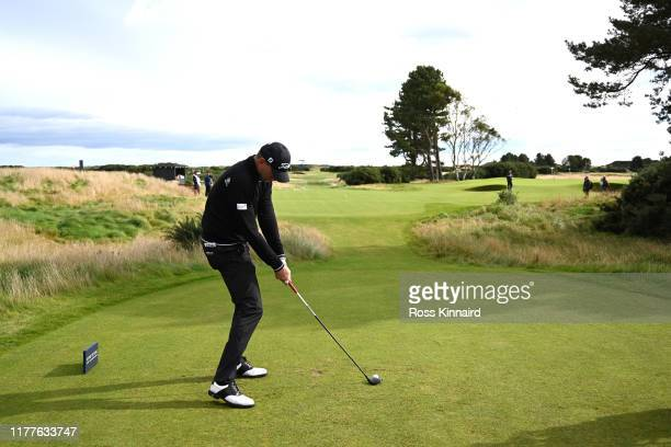 Robert Karlsson of Sweden tees off on the 14th hole during Day three of the Alfred Dunhill Links Championship at Carnoustie Golf Links on September...