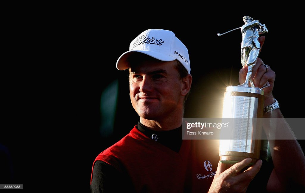 Robert Karlsson of Sweden with the Harry Vardon trophy after winning the European Tour Order of Merit after the final round of the Volvo Masters at the Valderrama Golf Club on November 2, 2008 in Sotogrande, Spain.