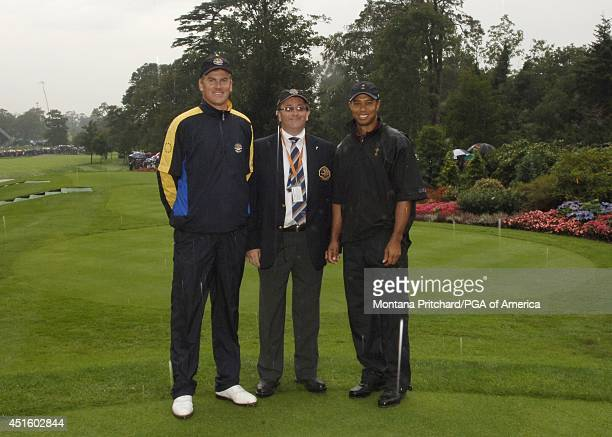 Robert Karlsson , rules official and Tiger Woods on the first tee during round 4 Singles matches at the Ryder Cup held at The K-Club in Straffan,...