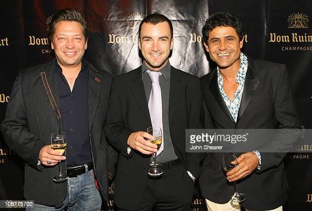 Robert Kass Martin Marquet and Yuki Sharoni during Launch Party For Dom Ruinart 1996 at Private Estate in Bel Air California United States