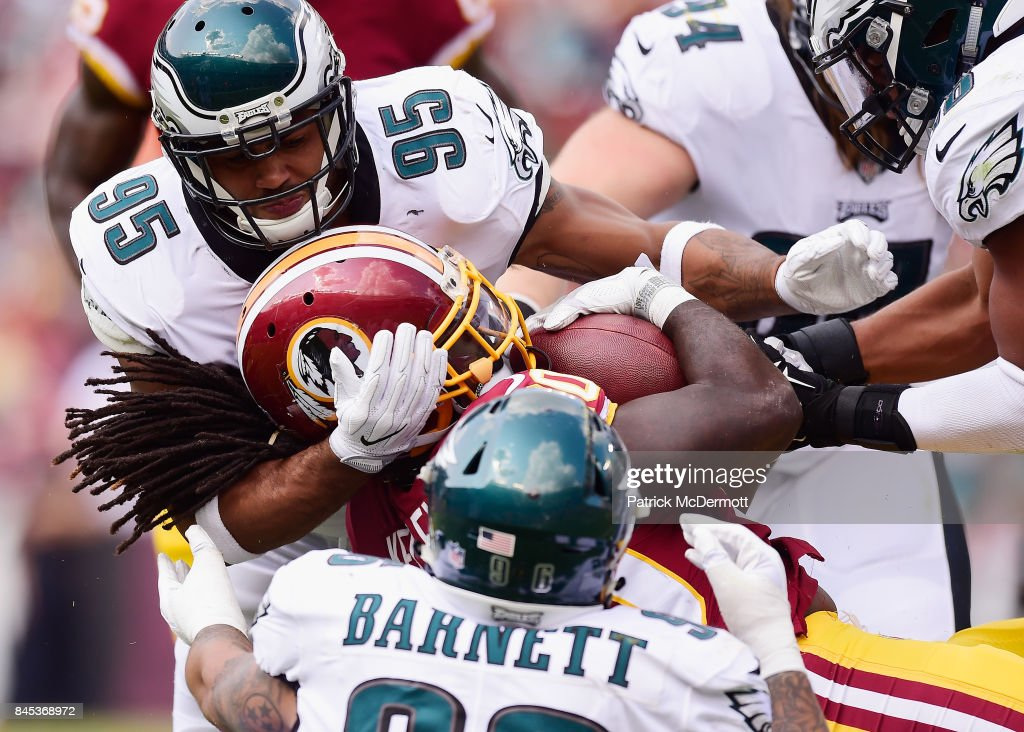 Robert Kelley #20 of the Washington Redskins gets tackled by Philadelphia Eagles in the four quarter of play at FedExField on September 10, 2017 in Landover, Maryland.