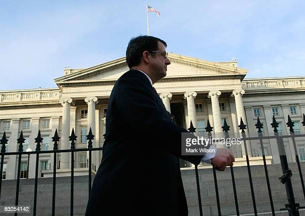 Robert Kelly chairman and CEO of The Bank of New York leaves a meeting at the Treasury Department October 13 2008 in Washington DC US Treasury...