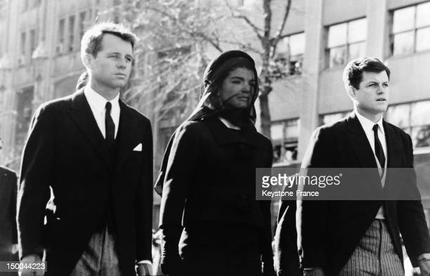 Robert Kennedy and Edward Kennedy with their sister in law Jacqueline Kennedy during the funeral of President John F Kennedy on november 25 1963 in...