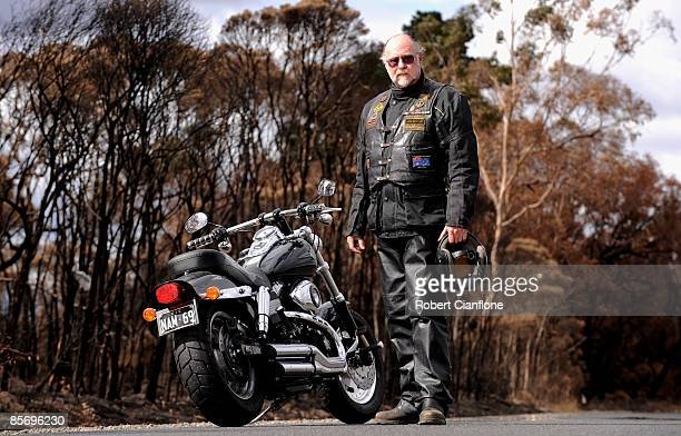 Robert Kennedy 'Bazz' of the Vietnam Veterans Motorcycle Club Australia Gippsland Chapter poses for a portrait ahead of ANZAC Day next month at...