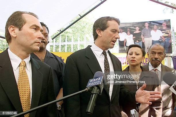 Robert Kennedy Jr Center New York Labor Leader Dennis Rivera Left And Rev Jesse Jackson Back Arrive At The San Juan District Court July 6 2001 In...