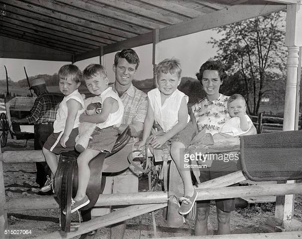Robert Kennedy now a Senate Committee investigator is shown with his wife Ethel and four of their five children The children from left are David...