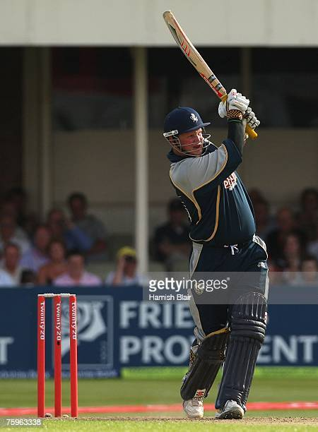 Robert Key of Kent hits a four through mid wicket during the Twenty20 Cup Semi Final match between Kent Spitfires and Sussex Sharks at Edgbaston on...