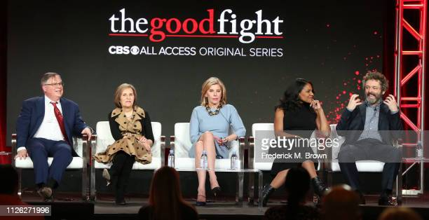 Robert King Michelle King Christine Baranski Audra McDonald and Michael Sheen of the television show The Good Fight speak during the CBS segment of...